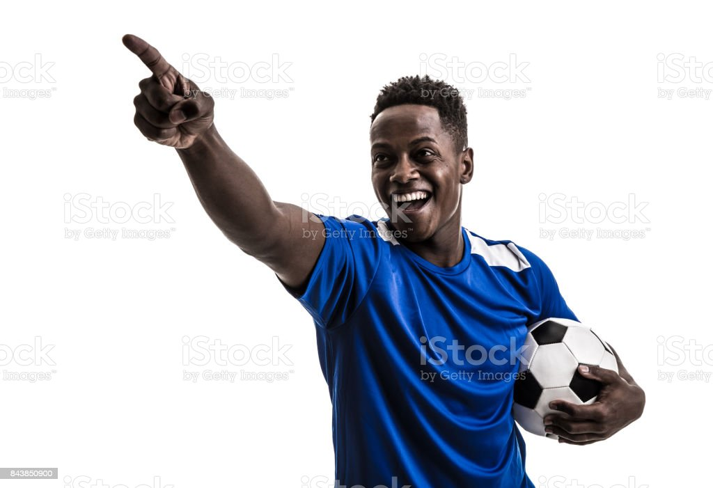 Fan / Sport Player on blue uniform celebrating on white background stock photo