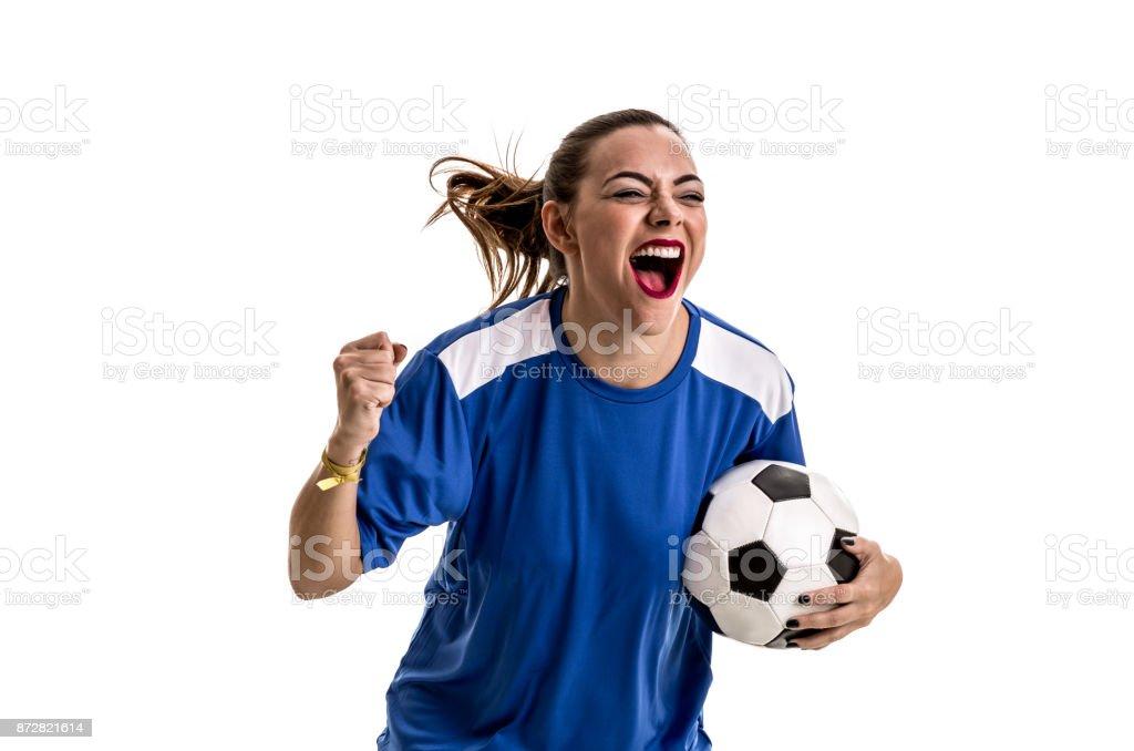 Ventilador / Player Sport azul uniforme comemorando em fundo branco - foto de acervo
