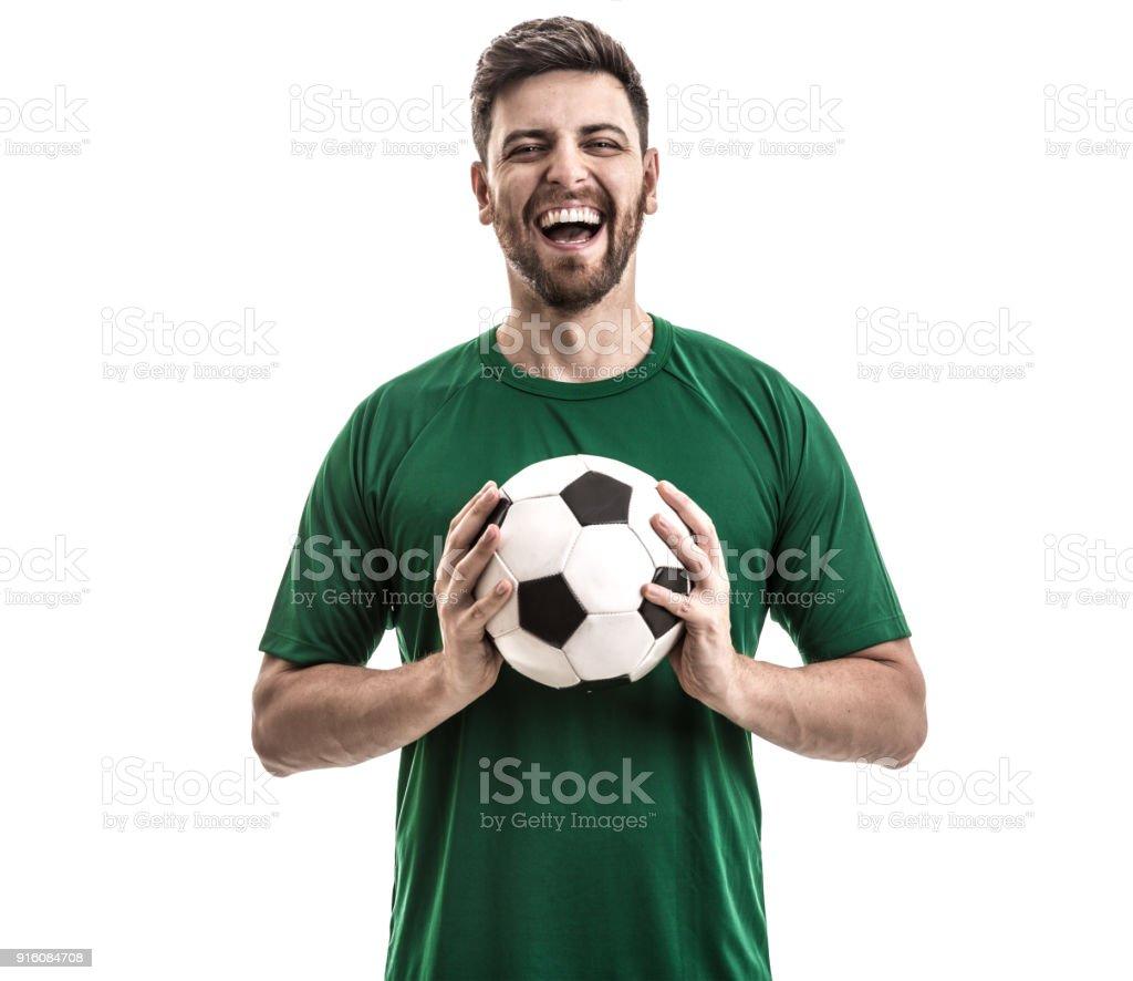 Ventilador / jugador del deporte en uniforme verde celebrando - foto de stock