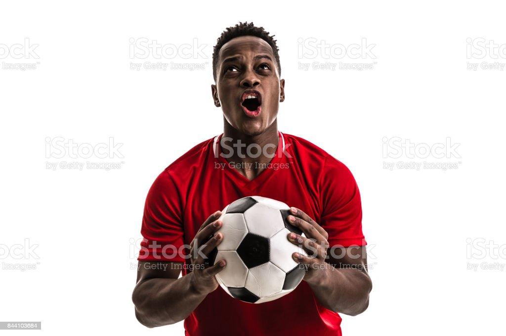 Fan / Sport Player on red uniform celebrating on white background stock photo