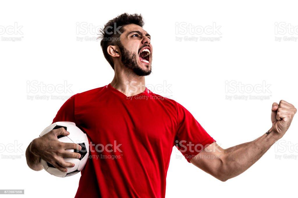 Ventilador / Sport Player no uniforme vermelho comemorando em fundo branco - foto de acervo