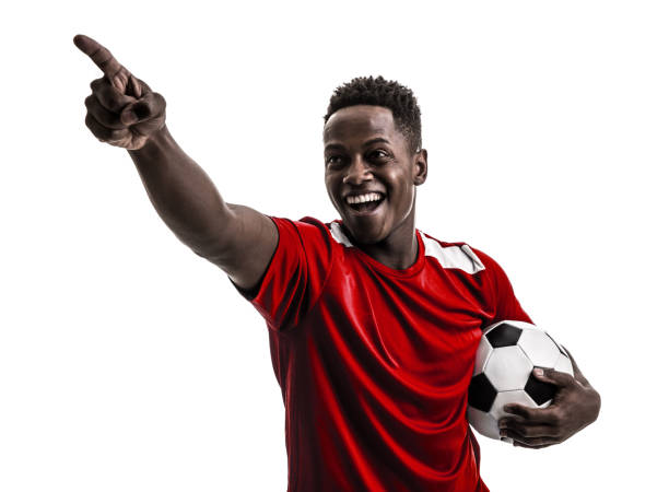 Fan / Sport Player on red uniform celebrating on white background stock photo
