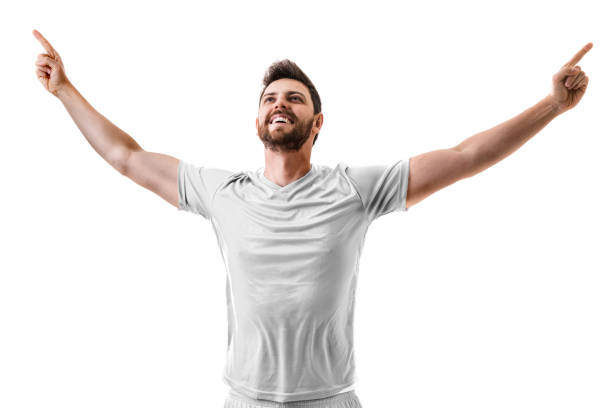 Fan / Sport Player on white uniform celebrating on white background stock photo