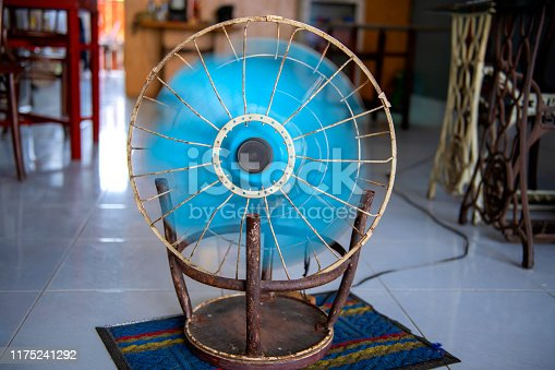 istock fan that is adapted to the steel chair 1175241292
