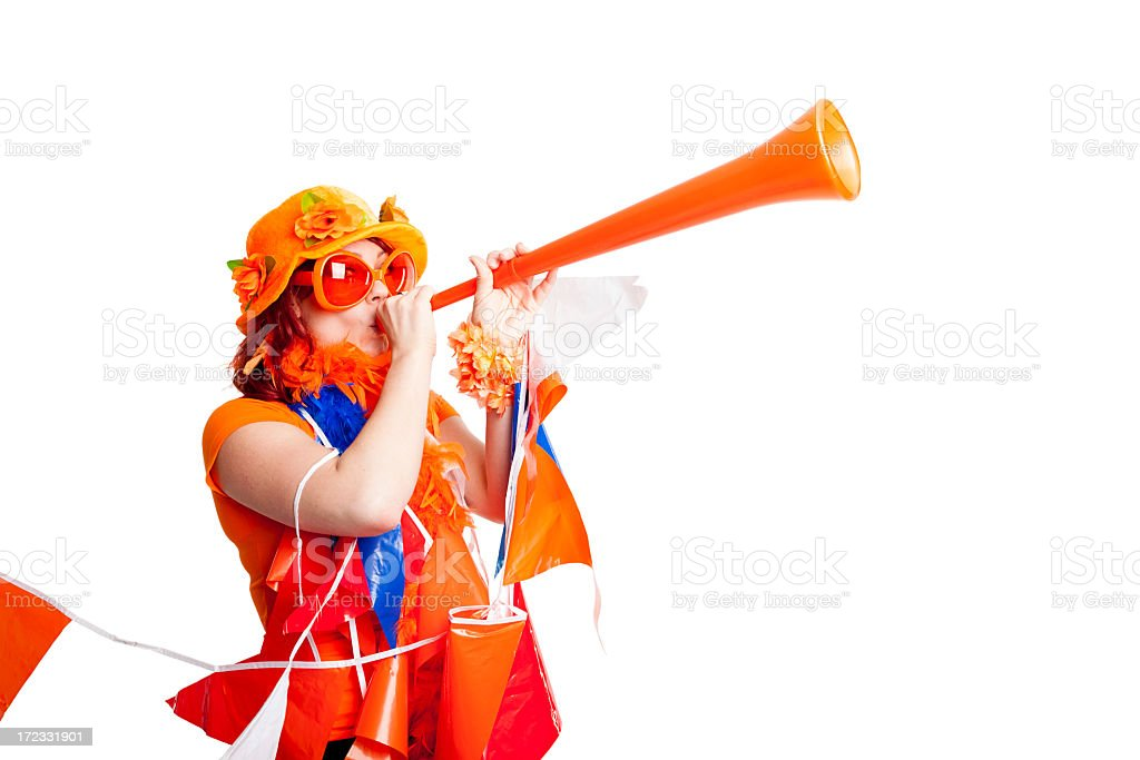 Fan with flags and vuvuzela stock photo