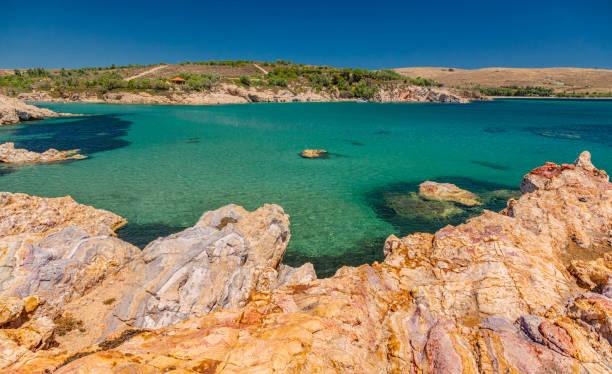 Fanaraki beach and Seal's cave on Lemnos island, Greece stock photo