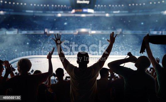 istock Fanatical hockey fans at a stadium 469569130