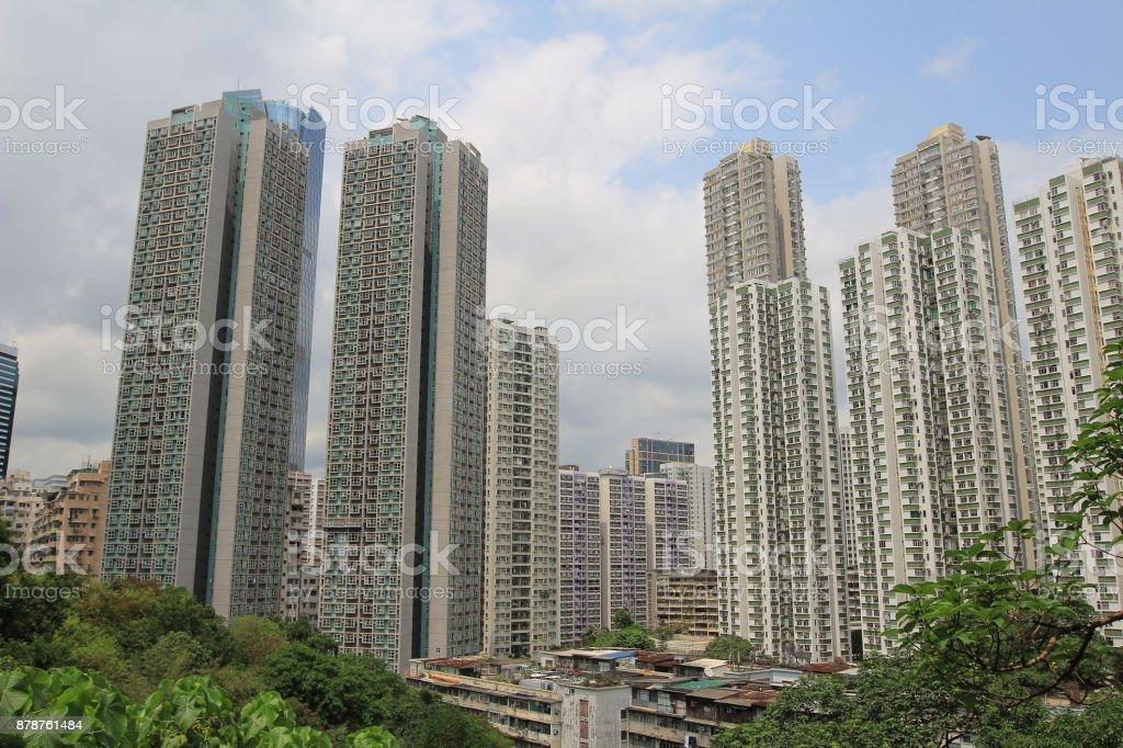 香港別致的公寓樓圖像檔
