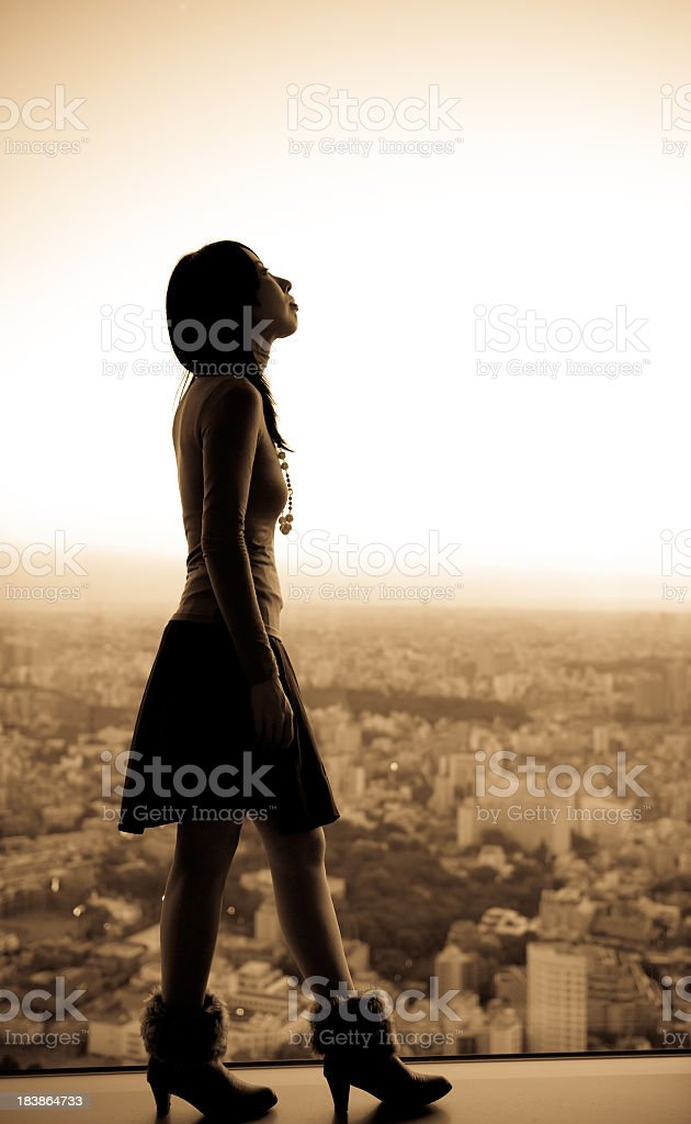 Fancy  Asian Woman Silhouette royalty-free stock photo