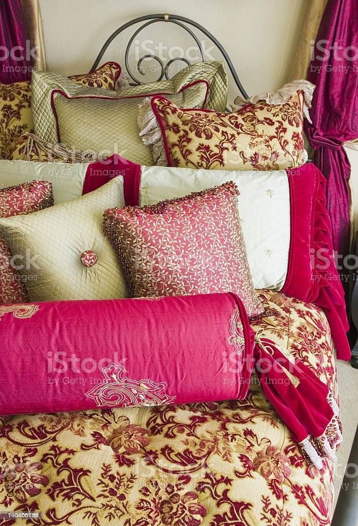 Fancy Bedding Set Vertical royalty-free stock photo