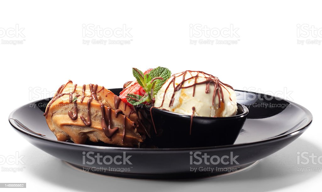 Fancy Cake with Ice Cream royalty-free stock photo