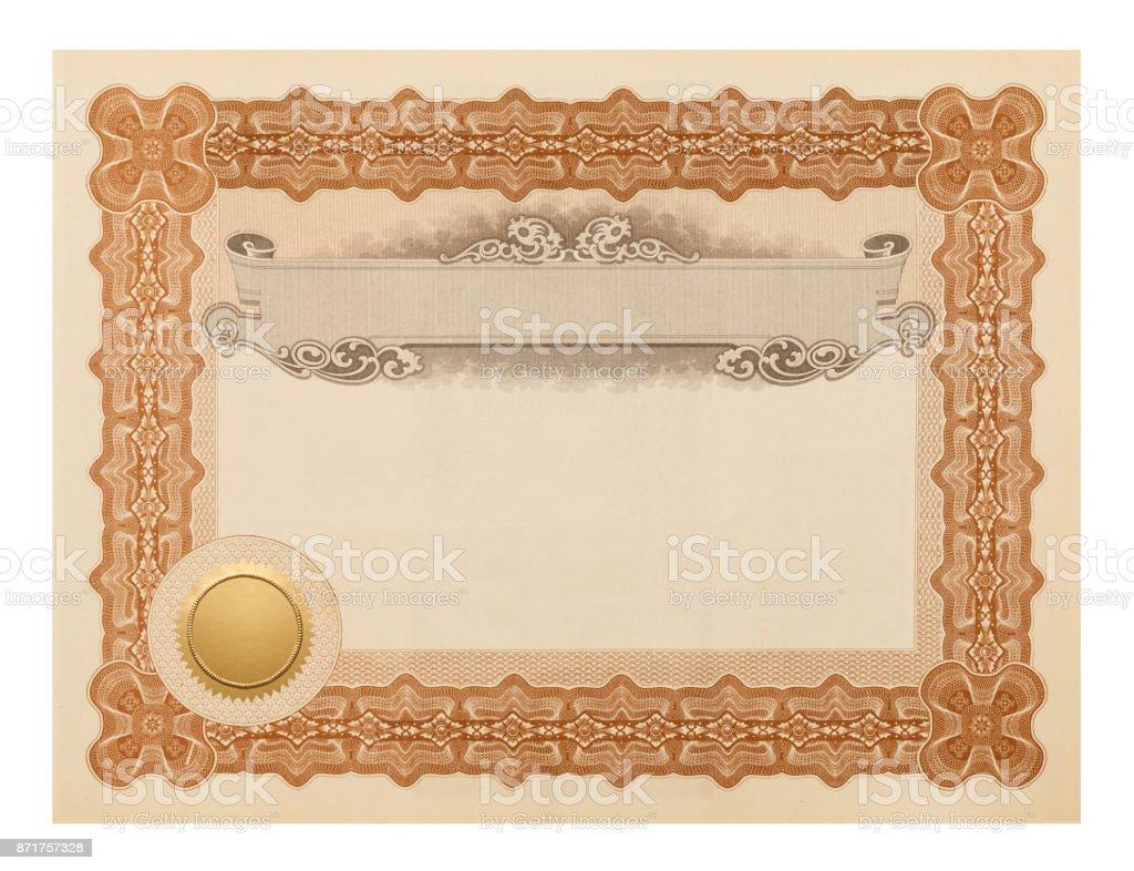 Fancy Certificate stock photo