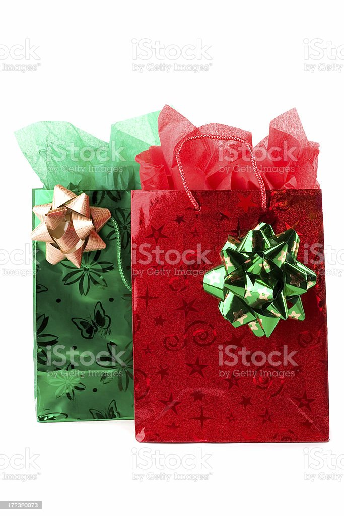 Fancy Christmas Gift Bags royalty-free stock photo