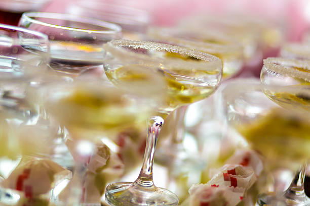 Fancy cocktail drinks inside restaurant stock photo