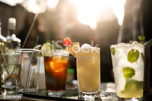 Fancy cocktail drinks.