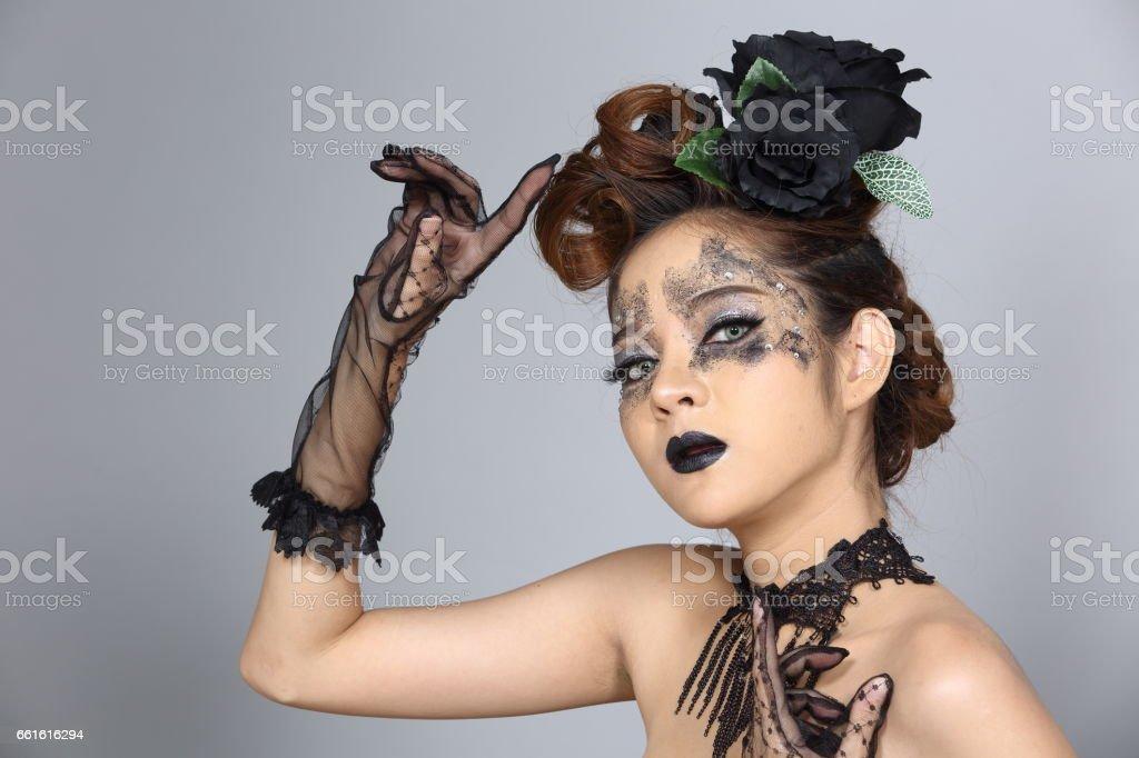 Ausgefallene Kreative Talent Makeup Und Frisur Auf Asiatischen