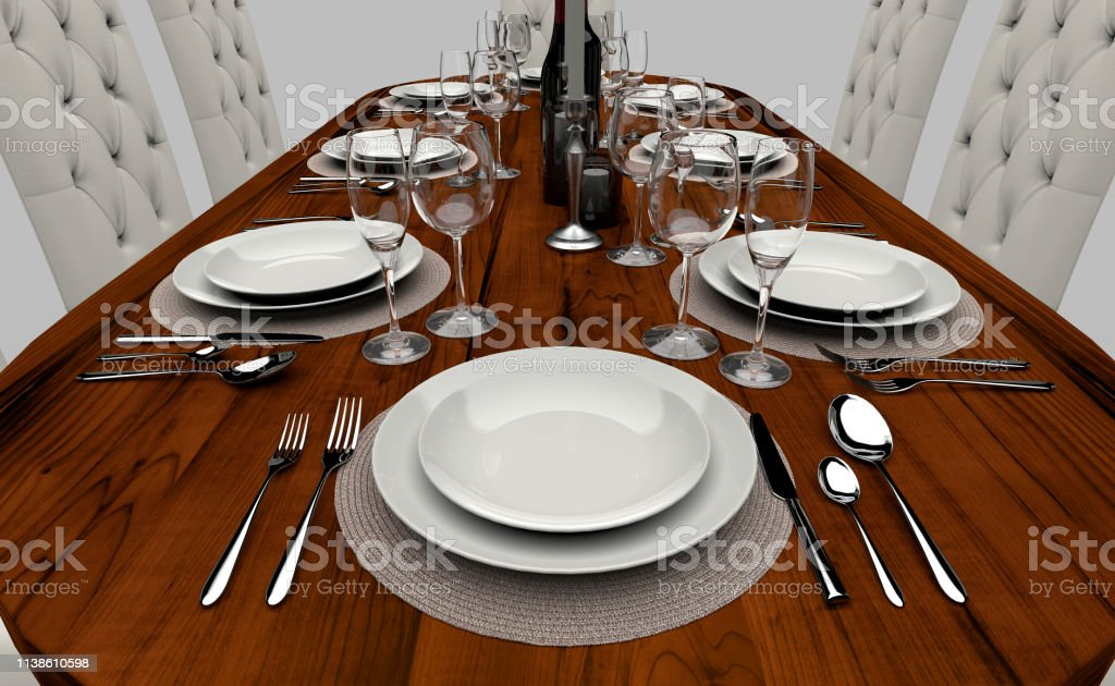 Fancy Dinner Table Isolated On White Back Ground Stock Photo ...