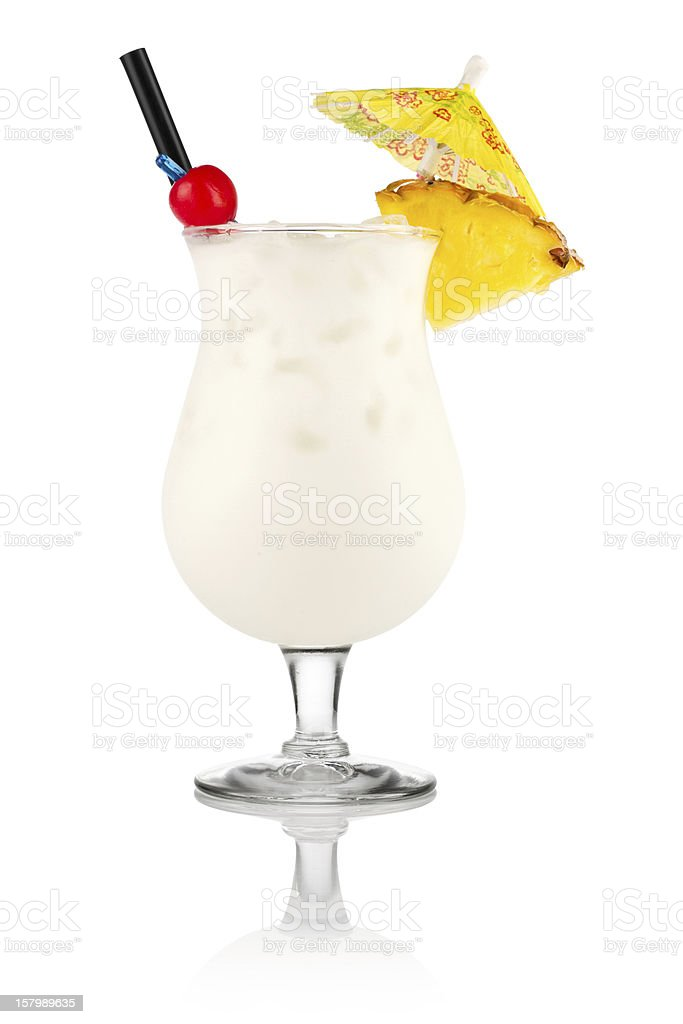 Fancy garnished pins colada on a white background stock photo