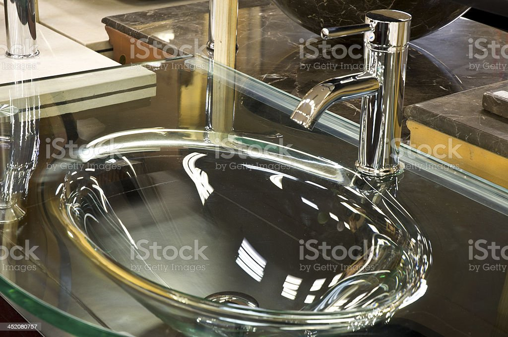 Fancy Glass Sink Basin And Chrome Faucet In Retail Showroom Stock Photo Download Image Now Istock