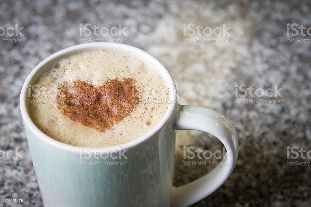 Fancy Latte Coffee Drink with Cinnamon Heart royalty-free stock photo