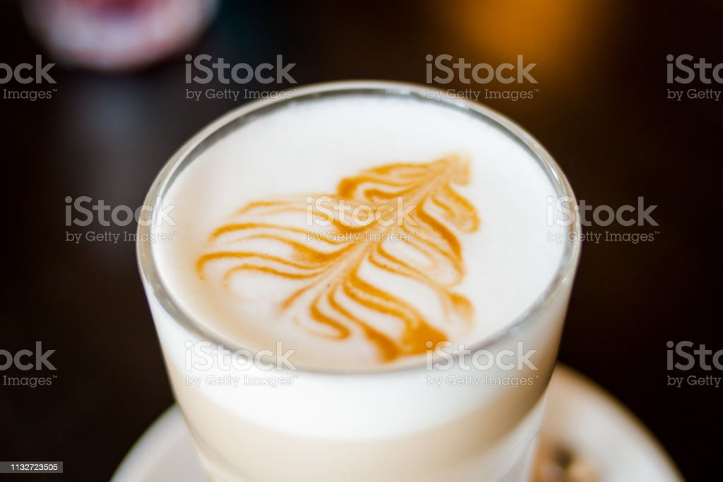 Fancy Latte Coffee In Glass Jarglass Cup Of Hot Coffee Latte Isolated On Dac Background Transparent Cup Of Coffee Milk And Chocolate And With Silver Spoon On Plate Drink Coffee Latte In
