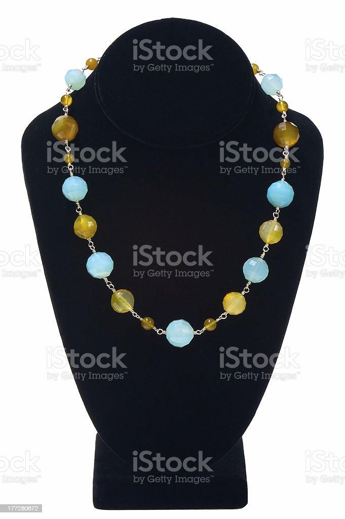 Fancy Necklace on Velvet Bust Model royalty-free stock photo