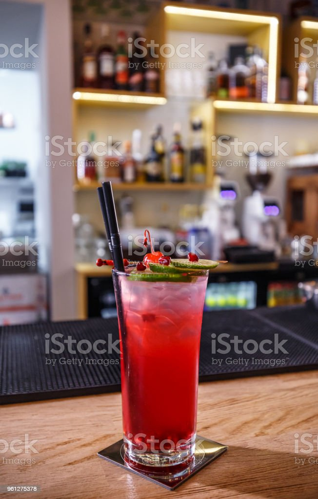 Fancy non-alcoholic pomegranate cocktail stock photo