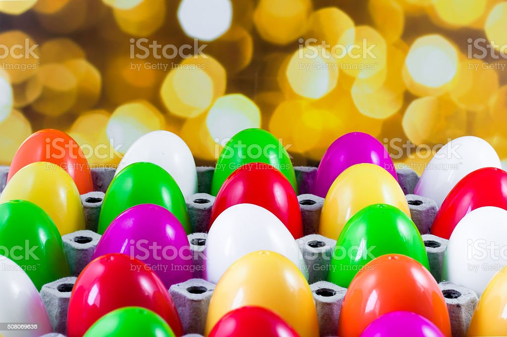 fancy or colorful of egg in spawn box with bokeh stock photo