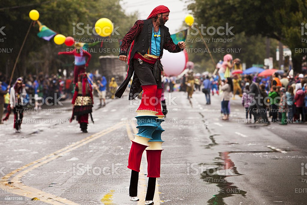 Fancy Pants Stilt Walkers stock photo