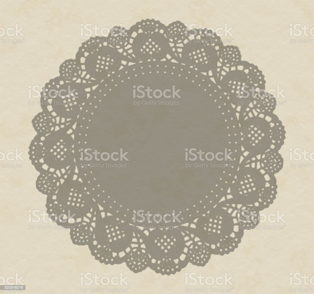 Fancy paper doily, antique shadow effect on textured paper. stock photo