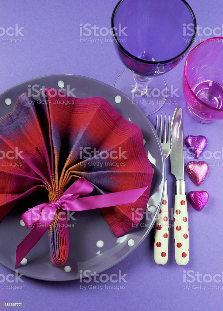 Fancy pink and purple table setting royalty-free stock photo