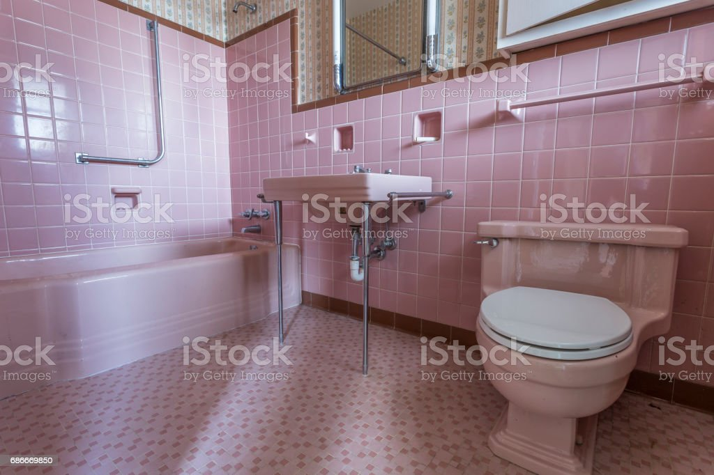 Fancy pink bathroom in a classic home stock photo