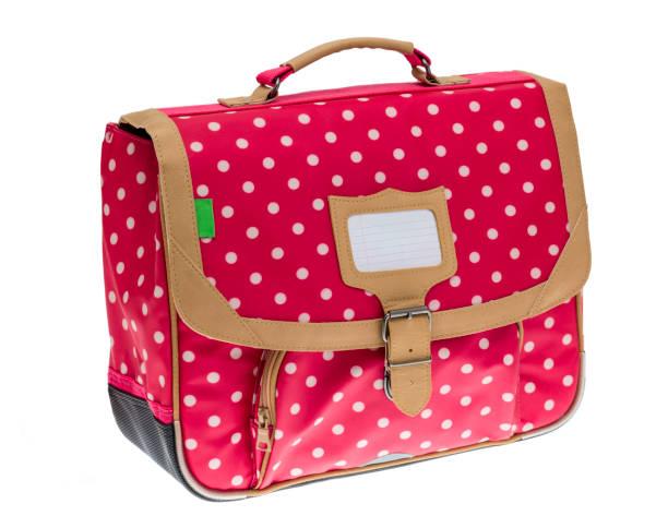 fancy red schoolbag - cartella scolastica foto e immagini stock