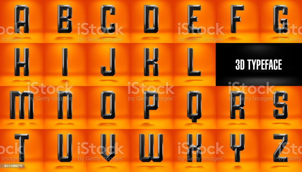 Fancy rounded 3d typeface stock photo