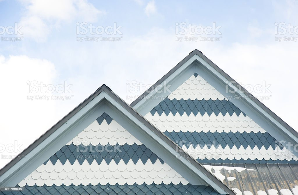 Fancy Shingles on Victorian Home royalty-free stock photo