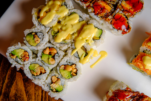 Fancy Japanese chefs special sushi roll platter