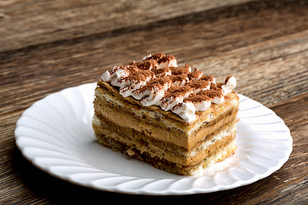 Fancy Tiramisu Coffee and Chocolate Dessert Bakery fresh tiramisu dessert on a nice white saucer with layers of lady fingers cake and frosting, topped with whipped cream and powdered chocolate tiramisu stock pictures, royalty-free photos & images