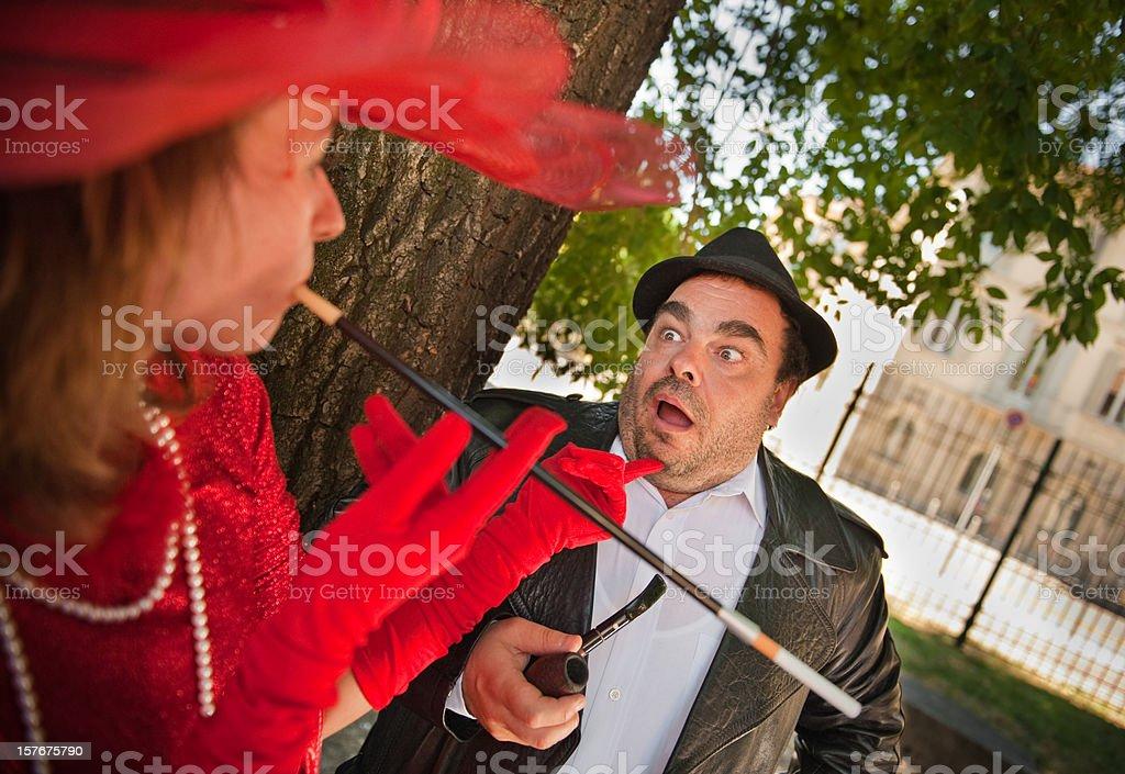 Fancy Woman Teasing Shy Man stock photo