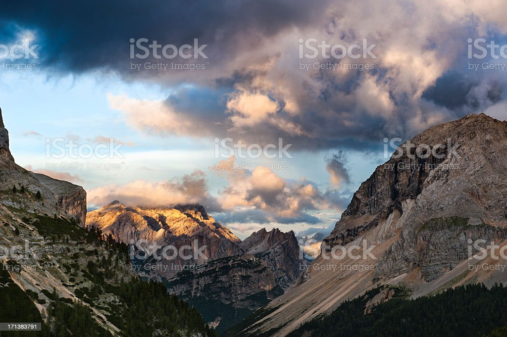 Fanes Natural Park at sunset royalty-free stock photo