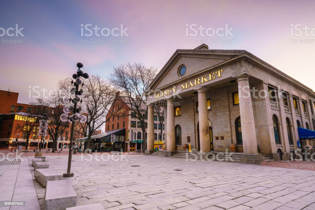 Faneuil Hall and the Boston skyline stock photo