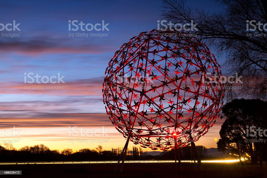 Fanfare At Sunset Lit Up By Red Lights stock photo