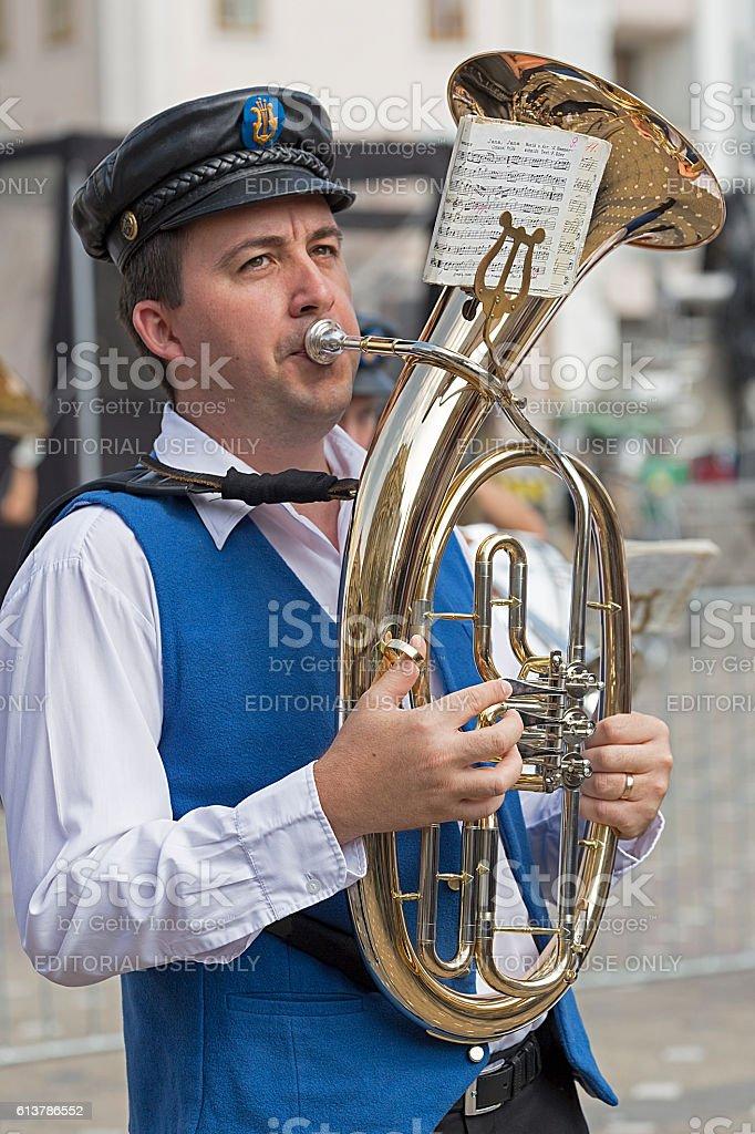 Fanfare singer ethnic German stock photo