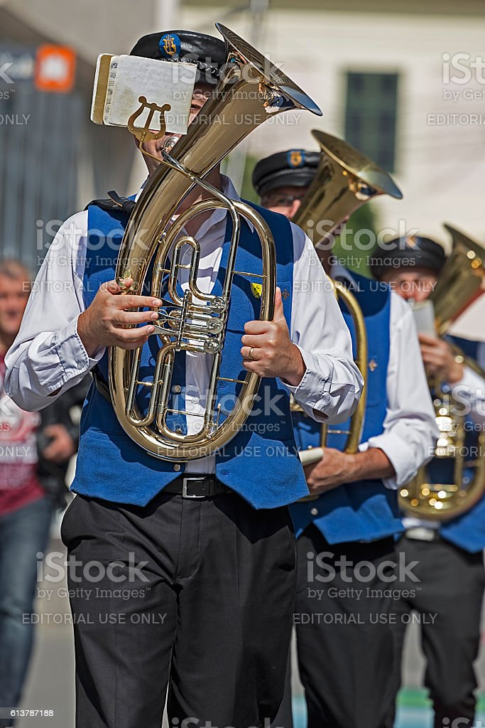 Fanfare singers ethnic German stock photo