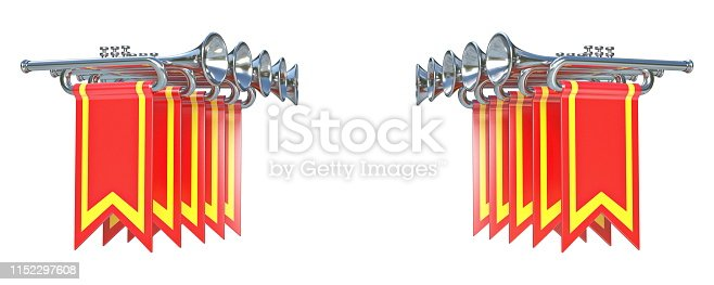 istock Fanfare ten symmetrical silver trumpets and red flags 3D 1152297608