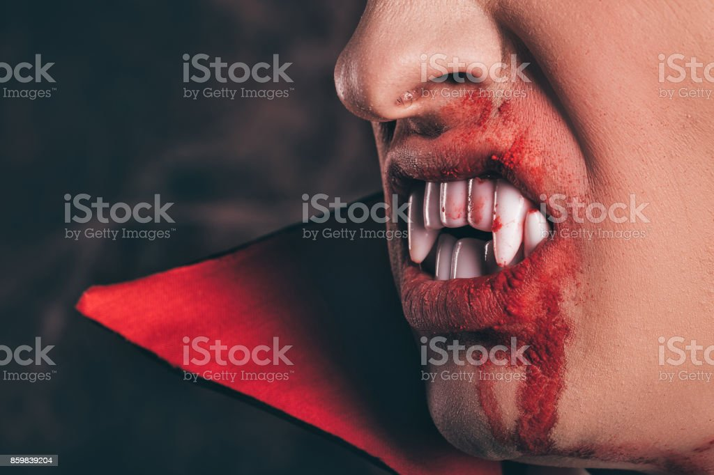 fangs and blood. Halloween. stock photo