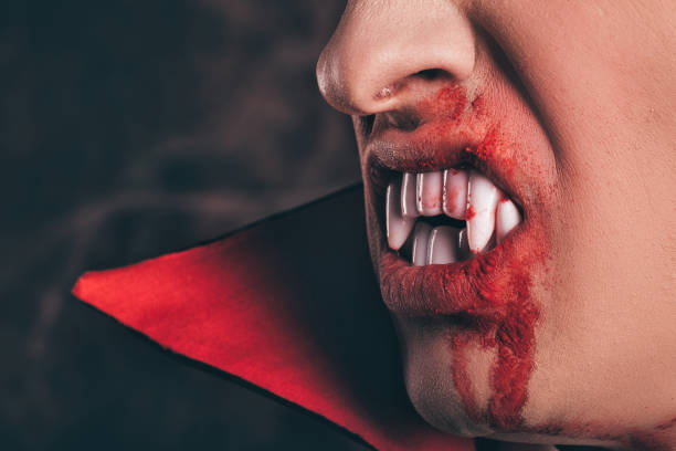 zähne und blut. halloween. - graf dracula stock-fotos und bilder