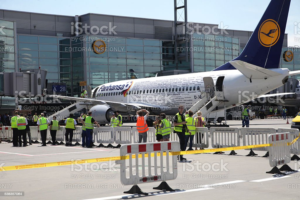 Fanhansa airliner from Germany national soccer team at gate stock photo