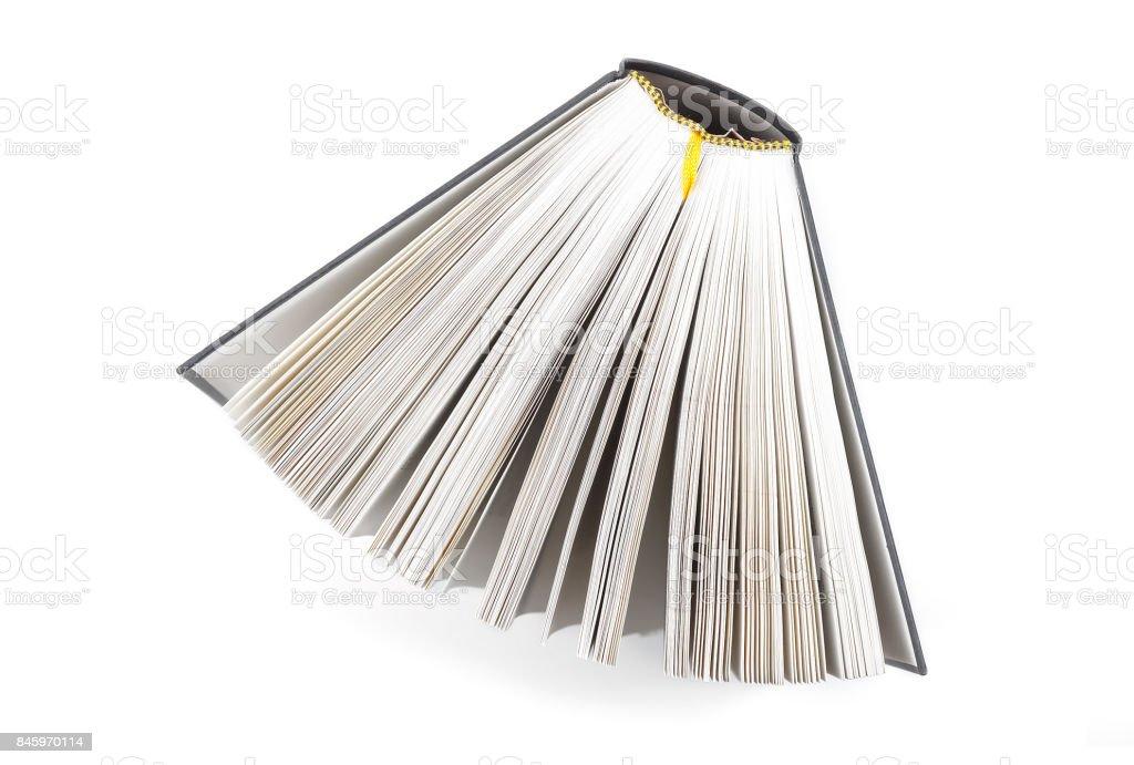 aufgefächerten Buch von oben fotografiert – Foto