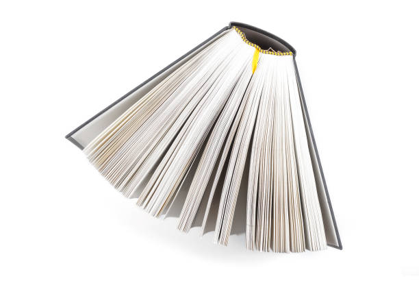 fanned book photographed from above stock photo