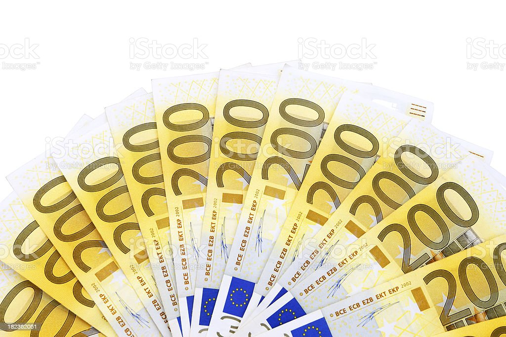 Fanned Out 200 Euro Banknotes Isolated on White stock photo